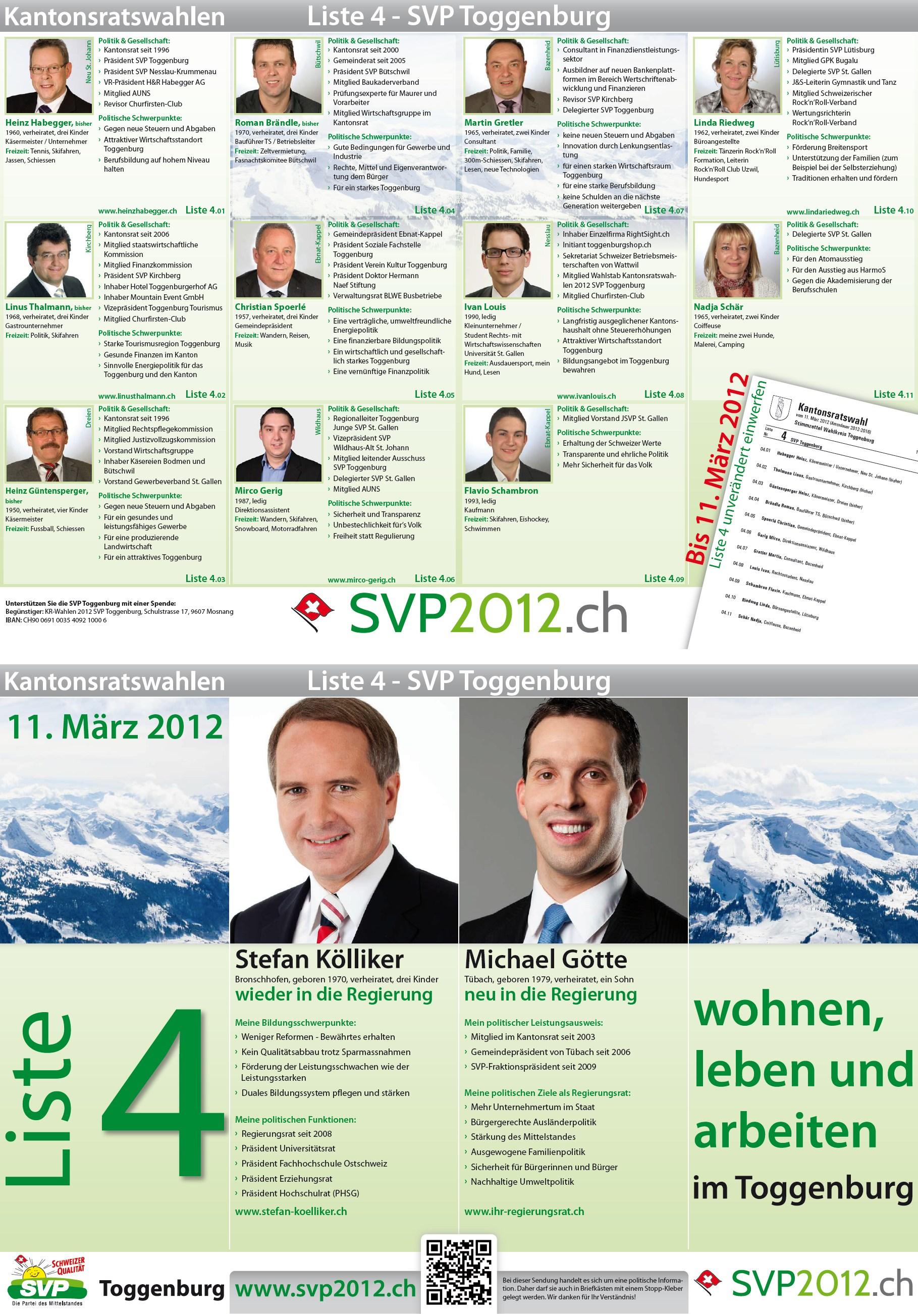 Flyer der SVP Toggenburg in den Haushalten (Montag, 13.02.2012)