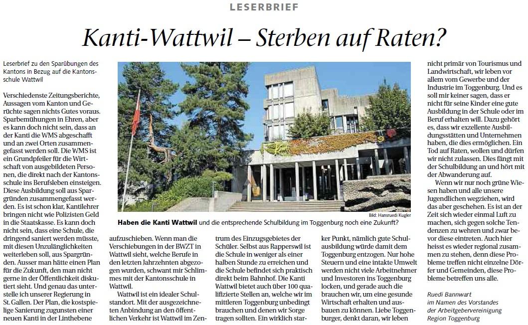 Kanti Wattwil - sterben auf Raten? (Mittwoch, 12.06.2013)