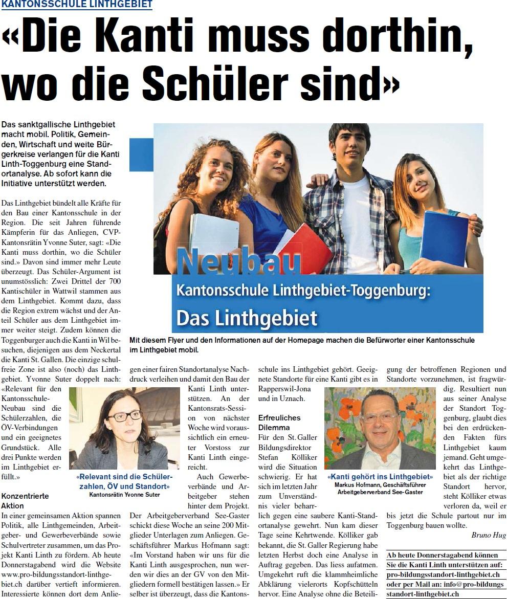 «Die Kanti muss dorthin, wo die Schüler sind» (Freitag, 14.02.2014)