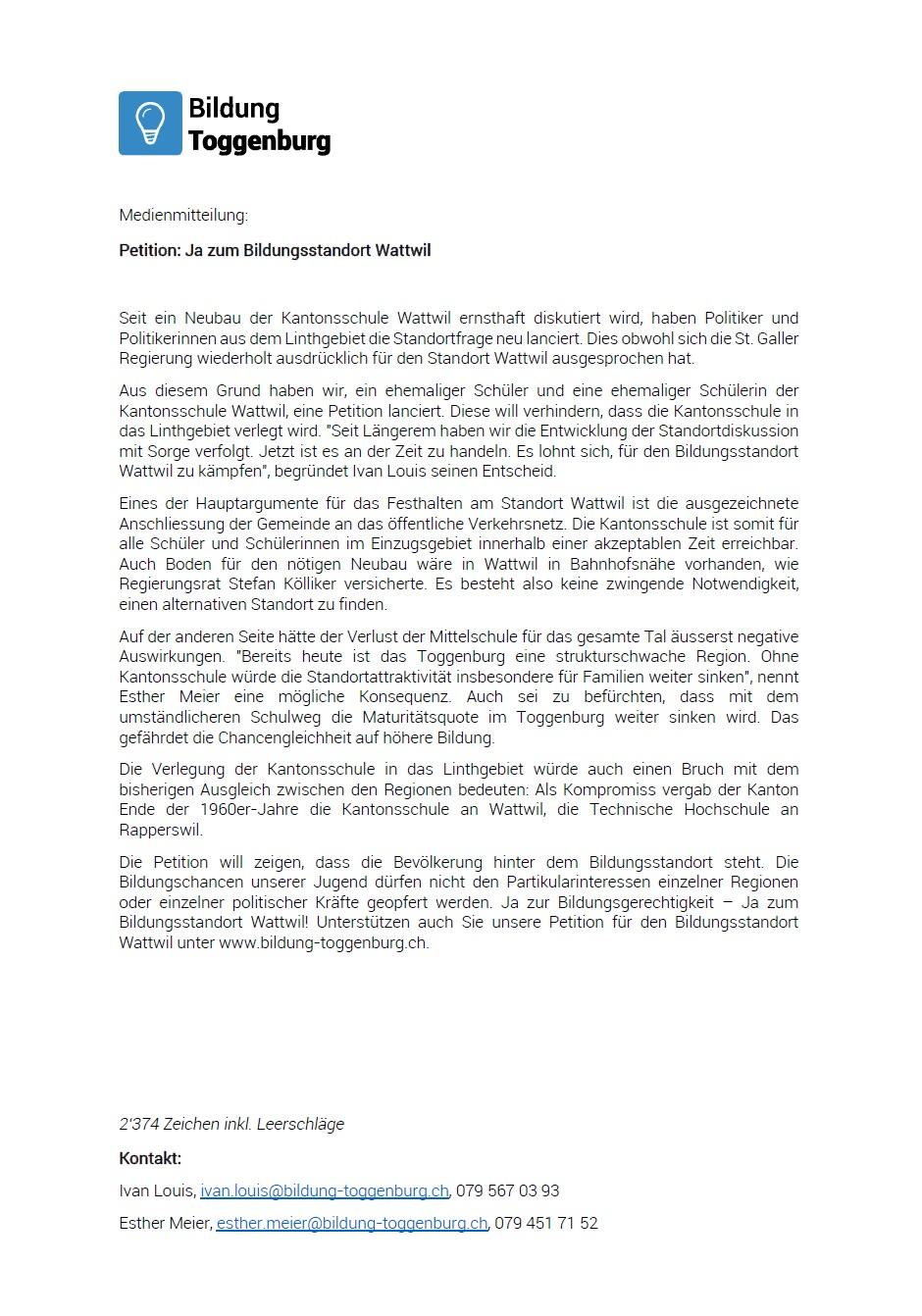 Medienmitteilung: Ja zum Bildungsstandort Wattwil (Sonntag, 23.02.2014)