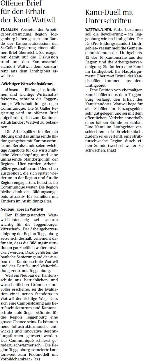 Offener Brief für den Erhalt der Kanti Wattwil (Dienstag, 25.02.2014)