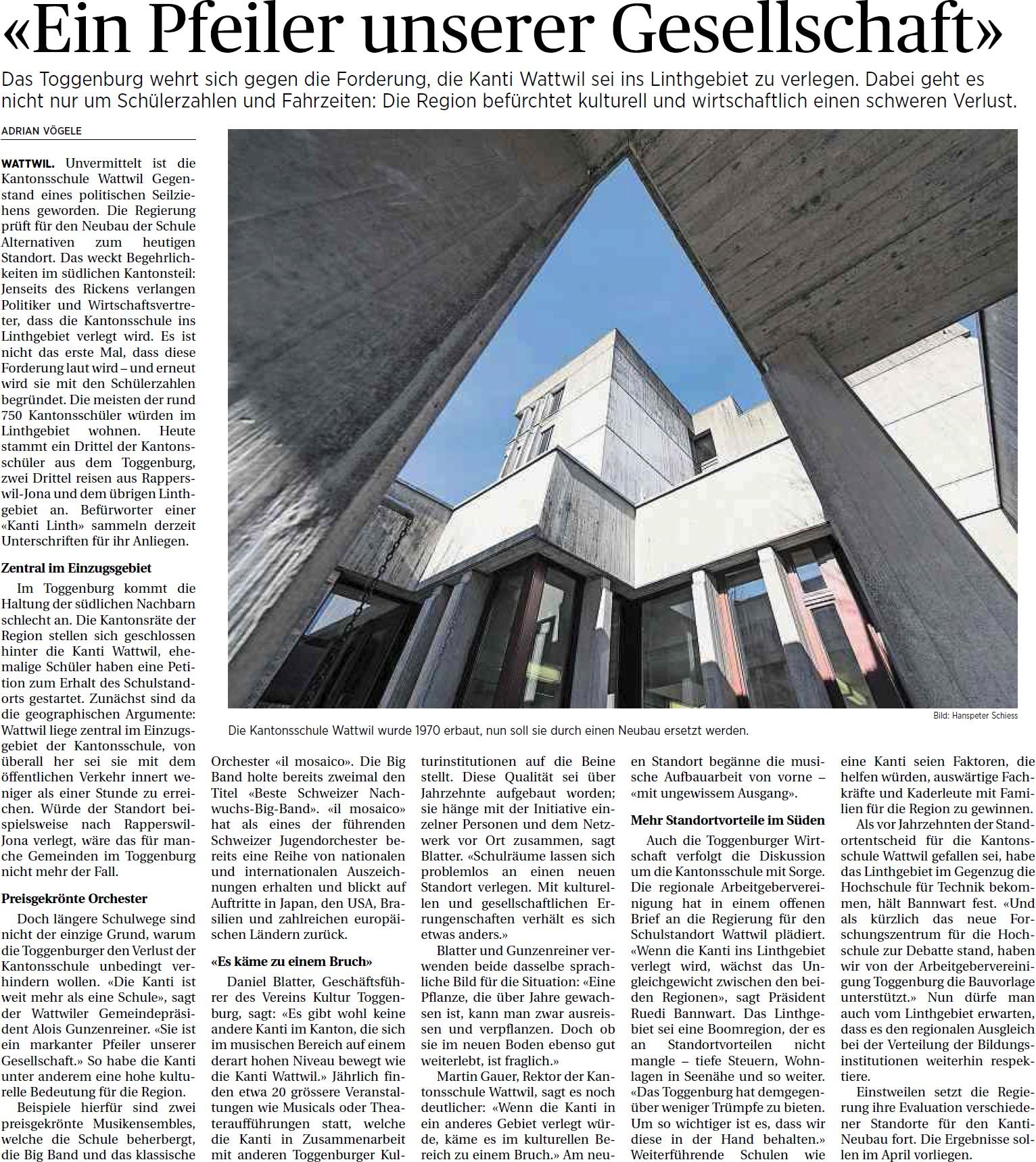 «Ein Pfeiler unserer Gesellschaft» (Freitag, 07.03.2014)