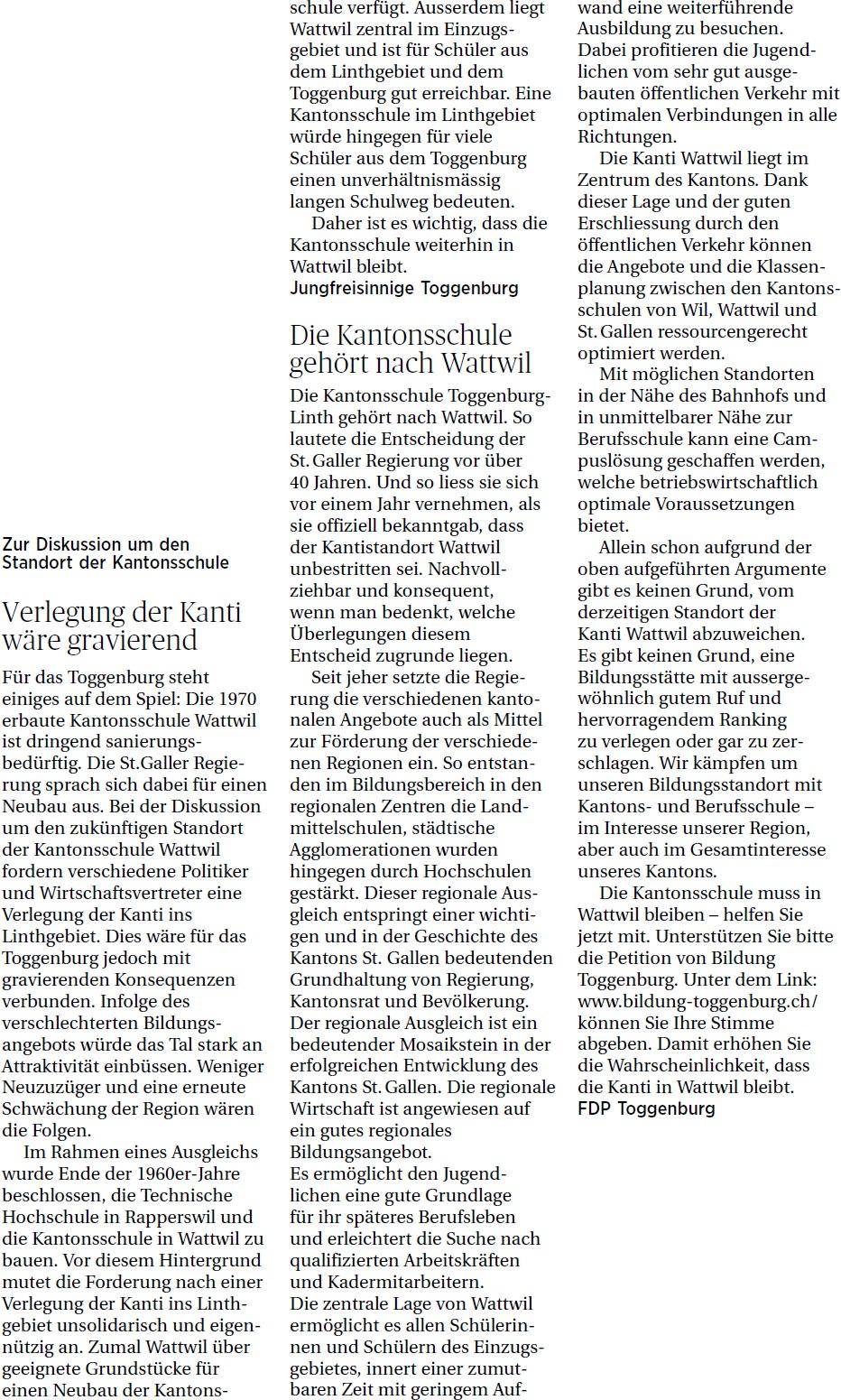 Die Kantonsschule gehört nach Wattwil (Freitag, 14.03.2014)