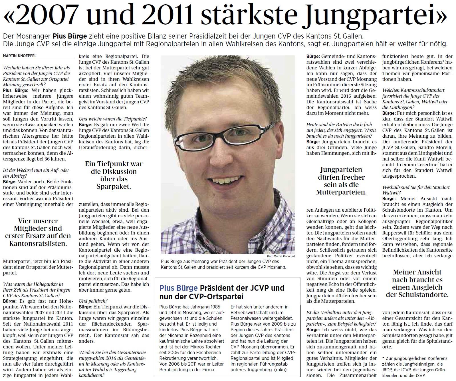 Interview mit Pius Bürge (Freitag, 14.03.2014)