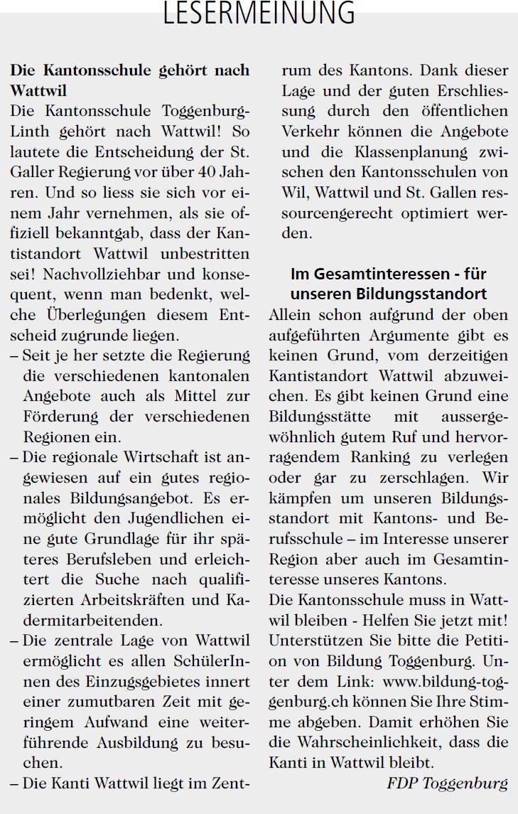 Die Kantonsschule gehört nach Wattwil (Mittwoch, 19.03.2014)