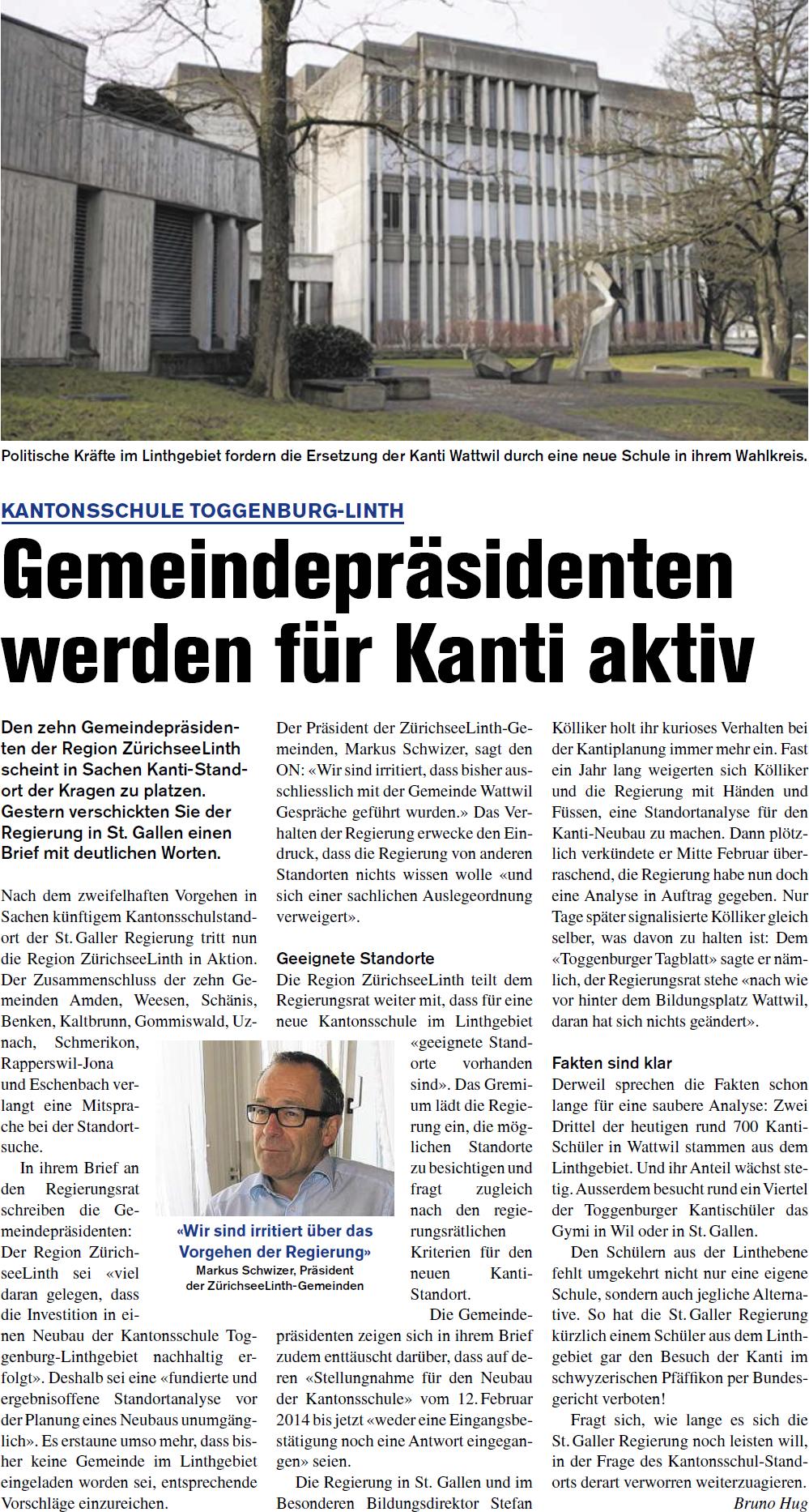 Gemeindepräsidenten werden für Kanti aktiv (Donnerstag, 20.03.2014)