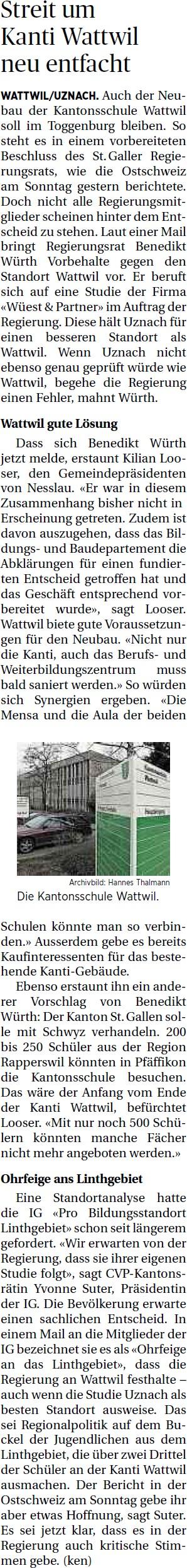 Streit um Kanti Wattwil neu entfacht (Montag, 28.04.2014)