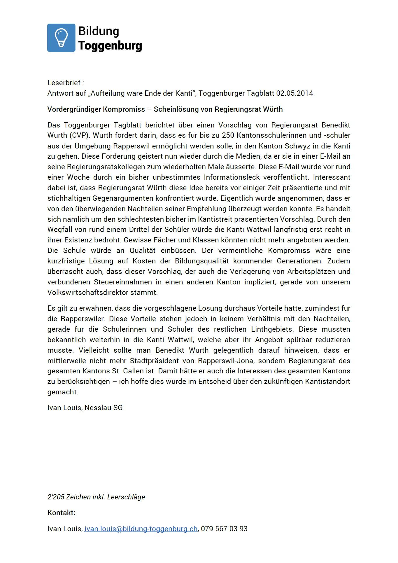 Vordergründiger Kompromiss – Scheinlösung von Regierungsrat Würth (Montag, 05.05.2014)