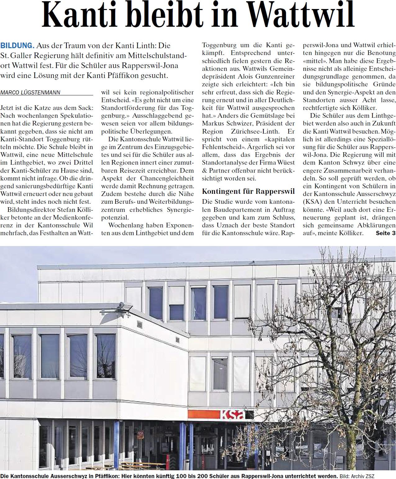 Kanti bleibt in Wattwil (Donnerstag, 08.05.2014)