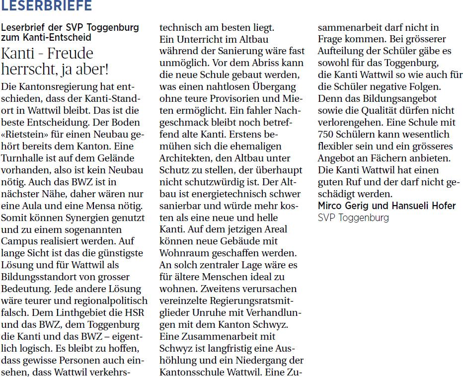 Kanti – Freude herrscht, ja aber! (Sonntag, 18.05.2014)
