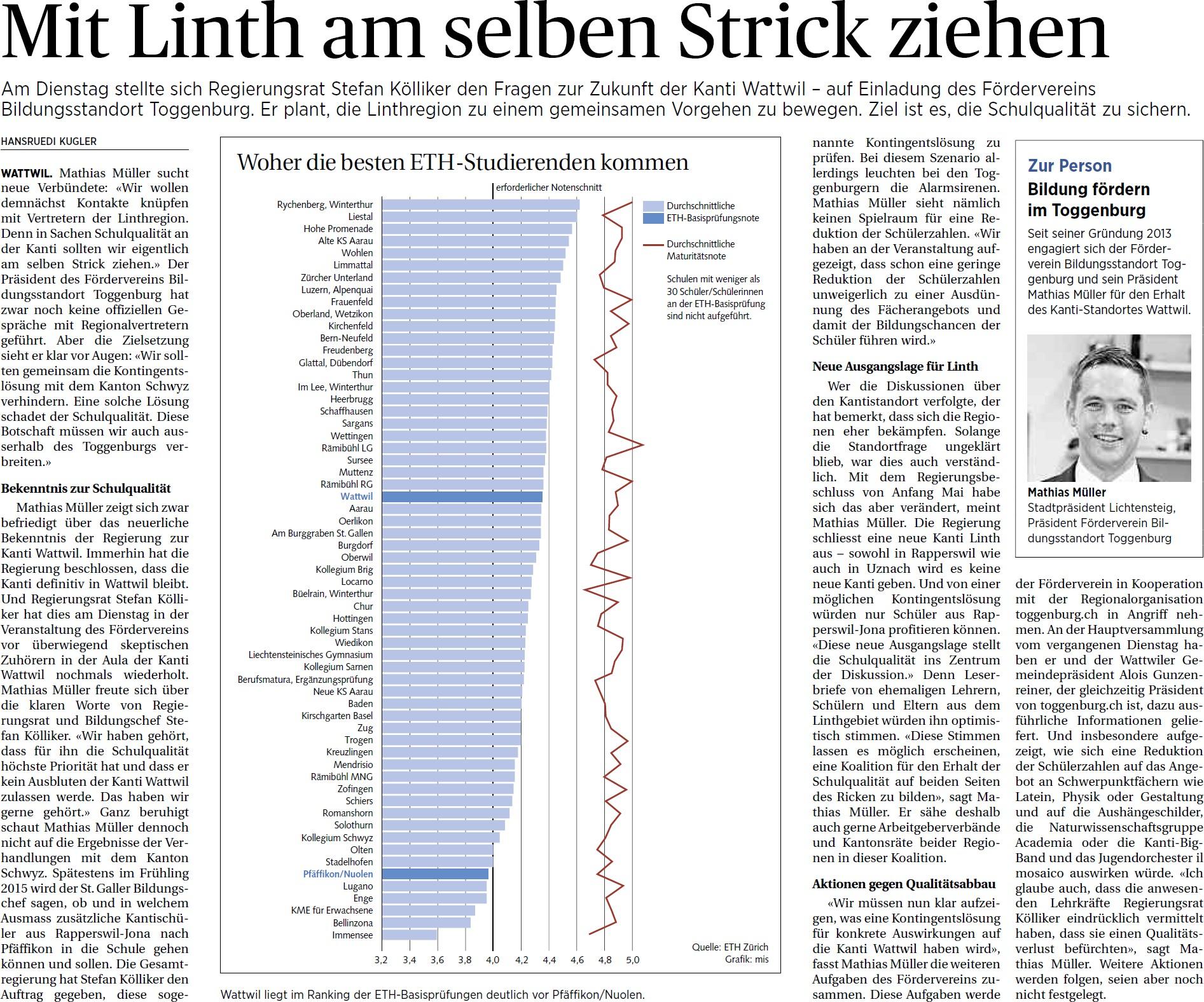 Mit Linth am selben Strick ziehen (Freitag, 06.06.2014)