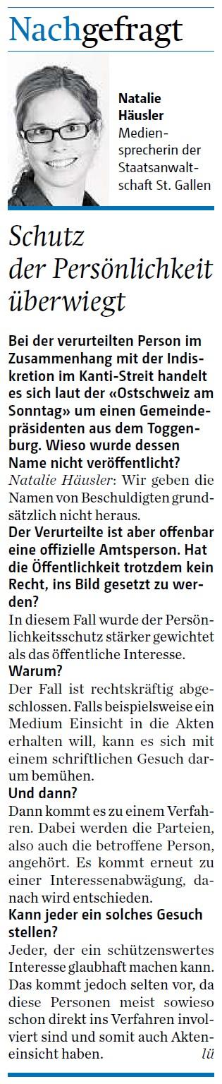 Nachgefragt: Schutz der Persönlichkeit überwiegt (Mittwoch, 23.07.2014)
