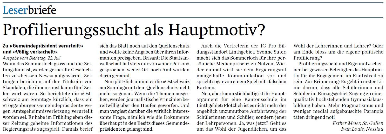 Leserbrief: Profilierungssucht als Hauptmotiv? (Donnerstag, 24.07.2014)